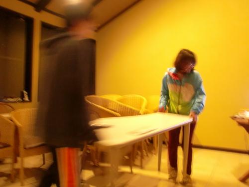 卓球台スペースづくり