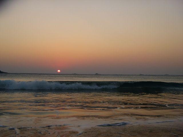 弓ヶ浜 初日の出 波