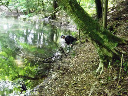 この後、池に片足浸かってました(笑)