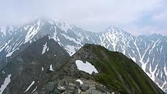西穂高岳頂上より、奥穂高方面