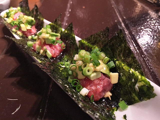 Minced Tuna and Avocado on Korean Seaweed