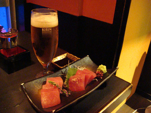 Tuna Sashimi and Beer