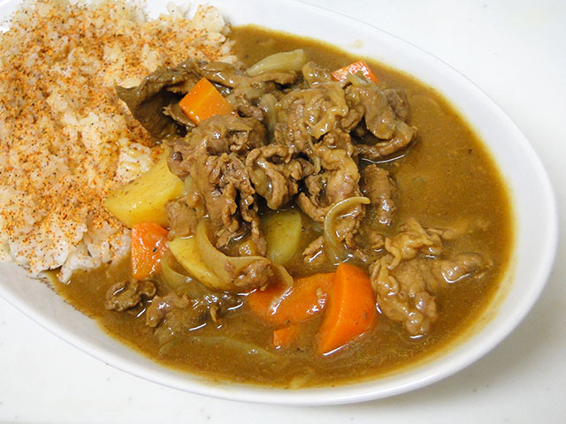 Homemade Low Fat Beef Curry with Sprouted Brown Rice