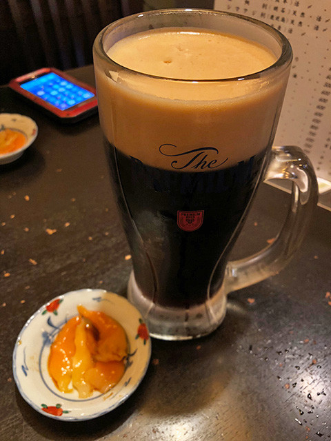 Draft Black Beer and Appetizer