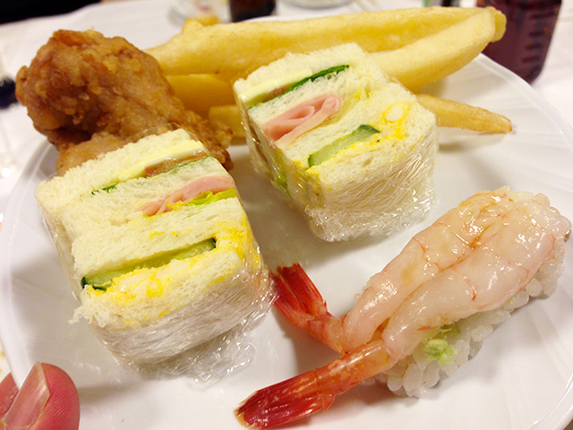 Sandwiches, Sushi, Deep-Fried Chicken, and French Fries