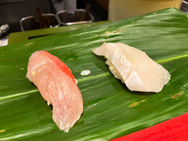 Great Amberjack and Alfonsino Nigiri Sushi