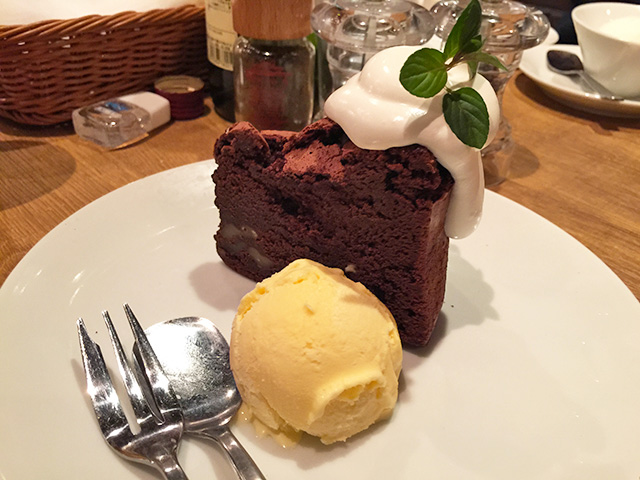Gateau Chocolat with Ice Cream