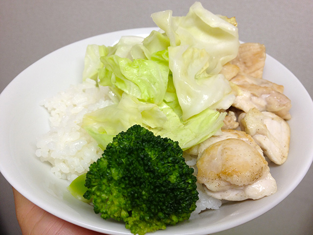 Pan-Fried Chicken, Cabbage, and Broccoli  with Rice