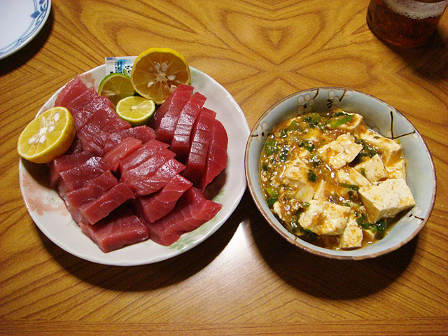 Tuna Sashimi and Mah-Poh-Tofu
