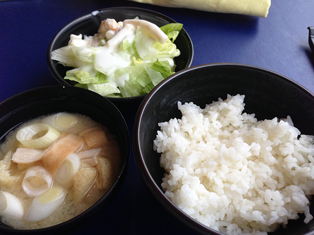 Salad, Miso Soup, and Rice
