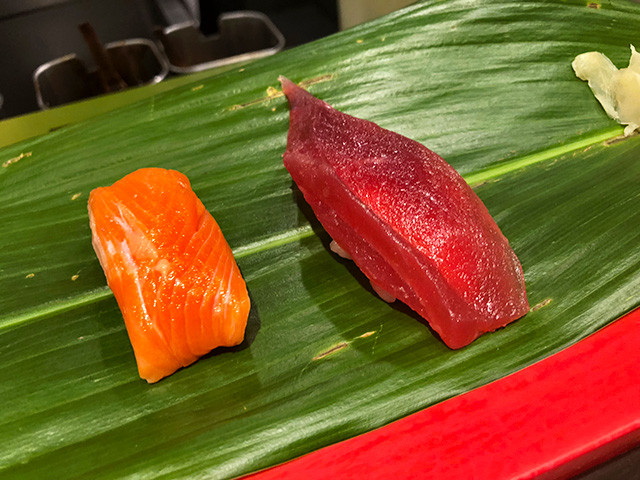 Red Tuna and Salmon Nigiri Sushi