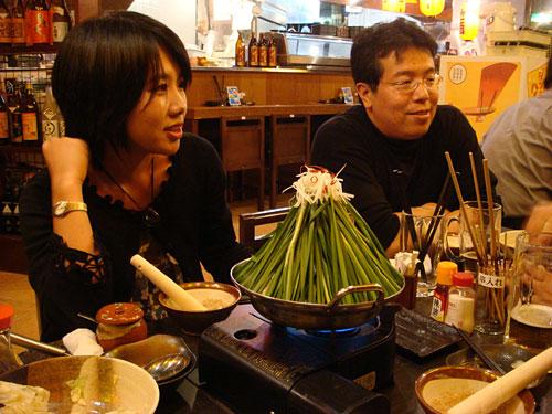 Drs. Yuna-no-ki and A with Mt. Fuji Nabe