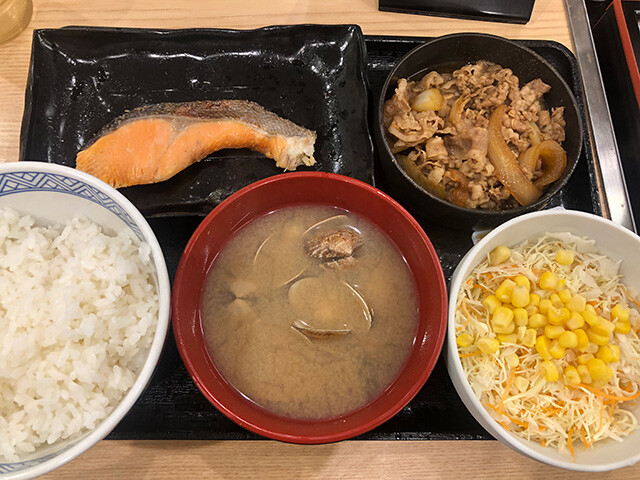 Beef & Salmon Meal with Asari Clam Soup and Salad