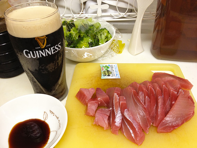 Tuna Sashimi and Broccoli with GUINNESS