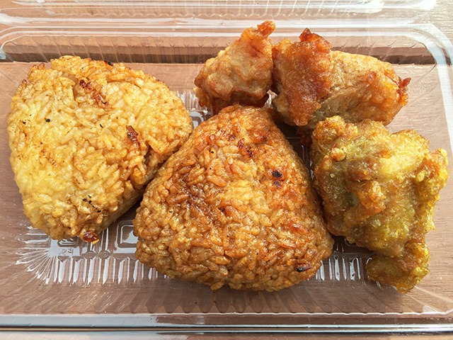 Grilled Riceballs and Fried Chicken