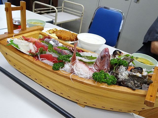 Sashimi Assorted on a Ship-Shape Dish