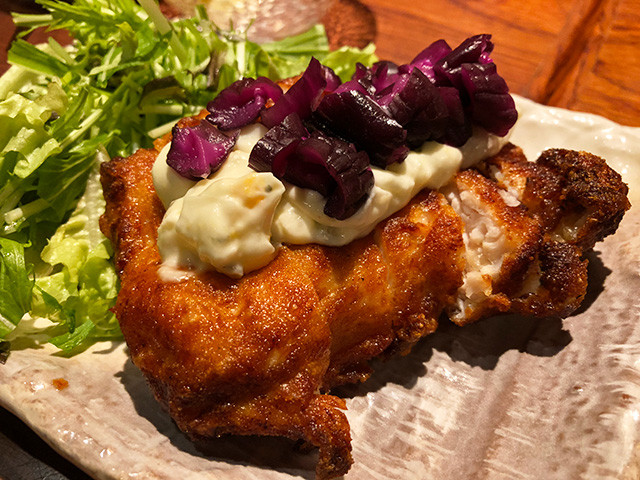 Fried Sosyu Beni Rakumi Chicken with Japanese Style Tartar Sauce