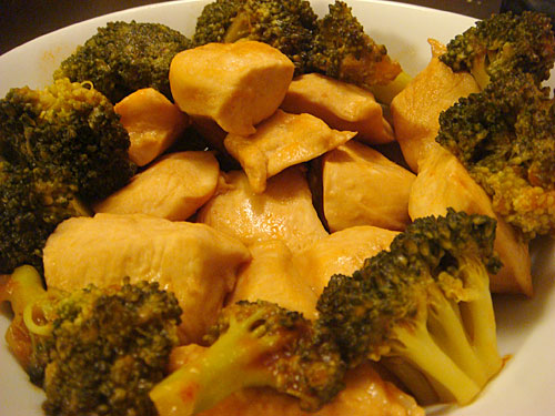 Stewed Chicken Breast and Broccoli with Ketchup