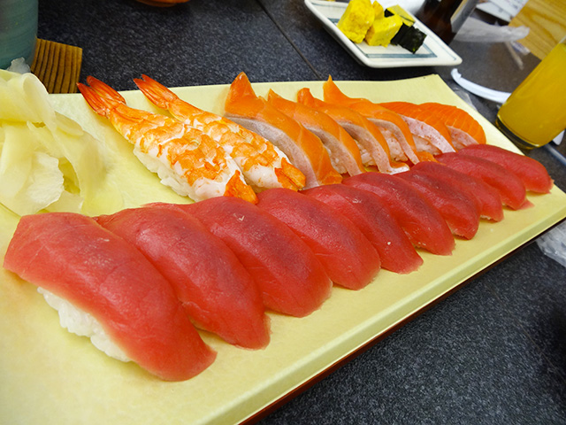 Red Tuna, Salmon, and Prawn Nigiri Sushi