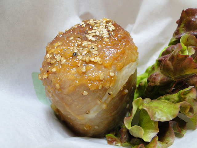 Pork-Wrapped Rice Ball with Soy Sauce