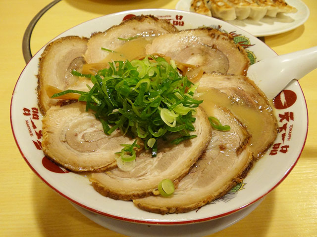Tenkaippin Ramen Noodles with Slices of Roast Pork
