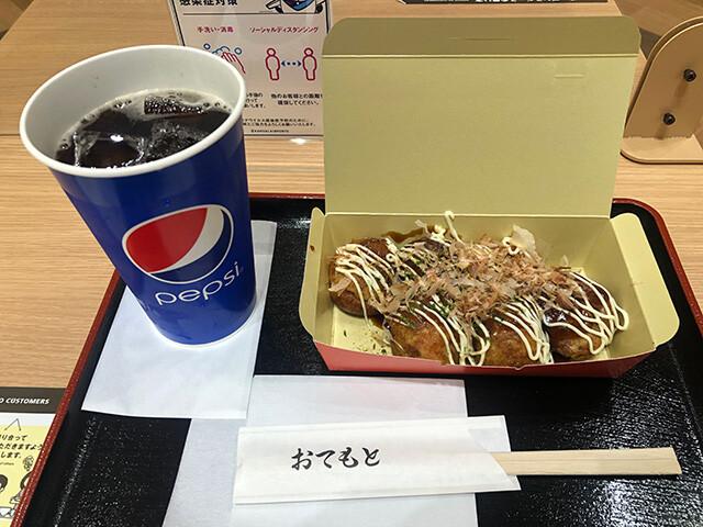 Takoyaki with Pepsi Zero