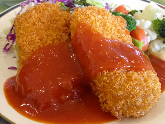Deep Fried Crab Cream Croquette with Tomato Sauce
