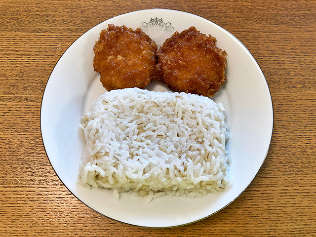 Chicken Cutlets with Steamed Rice and Pearl Barley