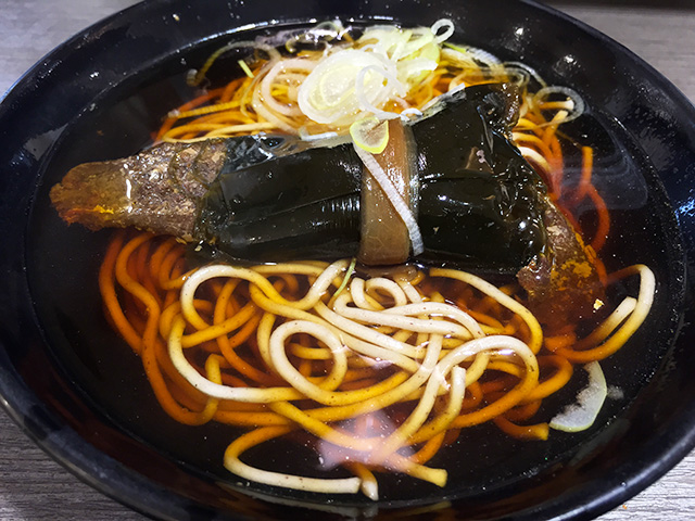 Soba with Herring Rolled by Kelp