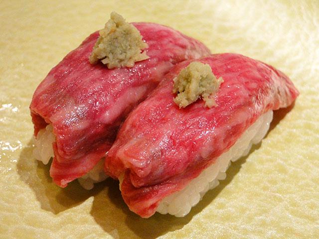 Raw Beef Nigiri Sushi