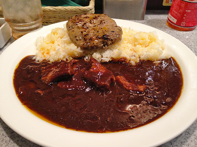 European Black Pork Curry with Japanese Black Beef Hamburger