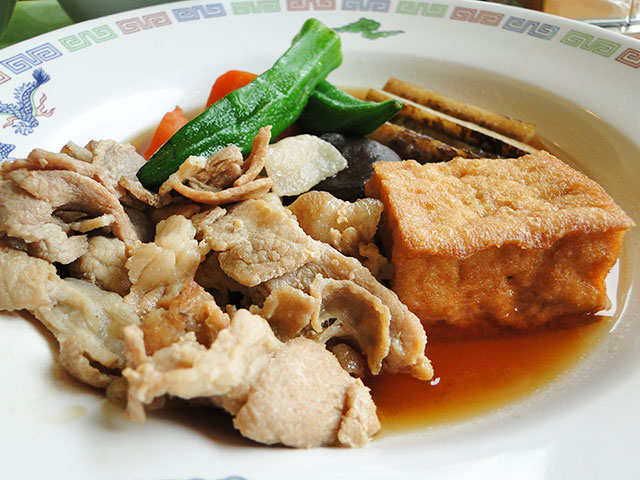 Pork, Deep Fried Tofu, and Burdock Cooked in Soy Sauce