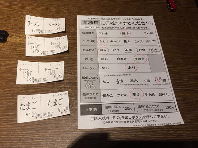 Order Sheet of Ichiran
