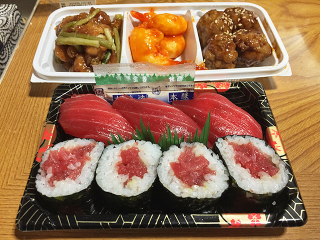 Sushi and Assorted Chinese Foods