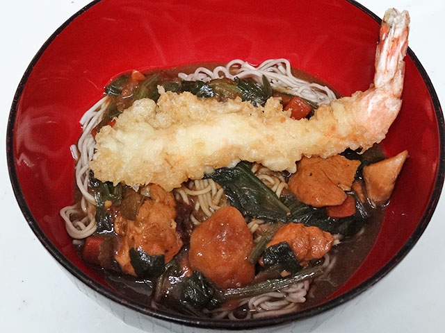 Chicken Curry Soba Noodles with Prawn Tempra