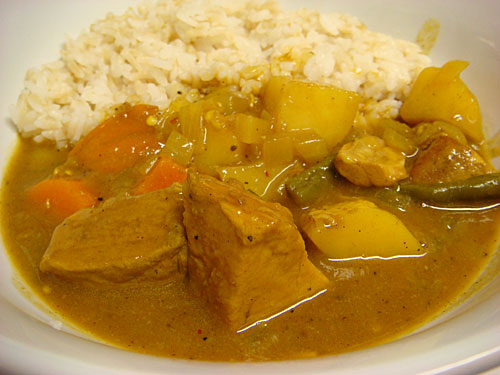 Pork Tenderloin Curry with Sprouted Brown Rice