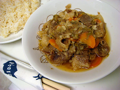 Stewed Fibrous Meat with Brown Rice