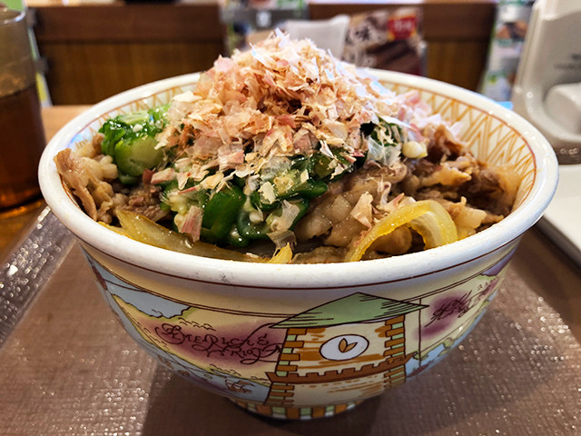 Beef Rice Bowl with Okra and Dried Bonito Flakes