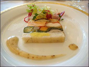 海の幸と野菜のモザイク造り 粒マスタードのドレッシングを添えて