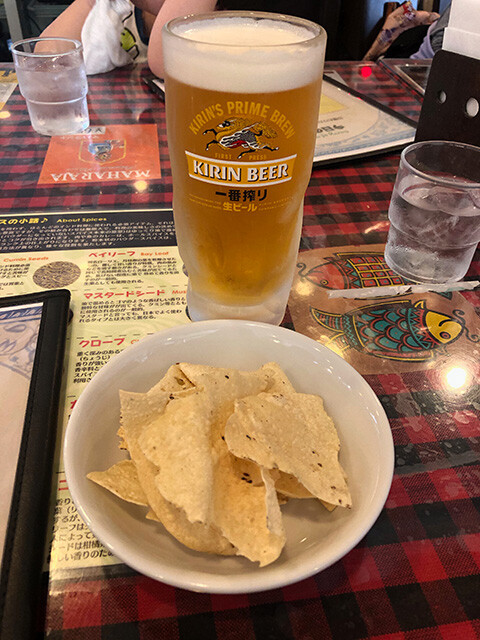 Draft Beer and Papad