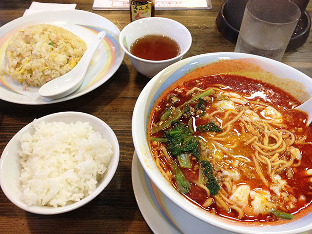 Dandan Noodles with Fried Rice and Steamed Rice