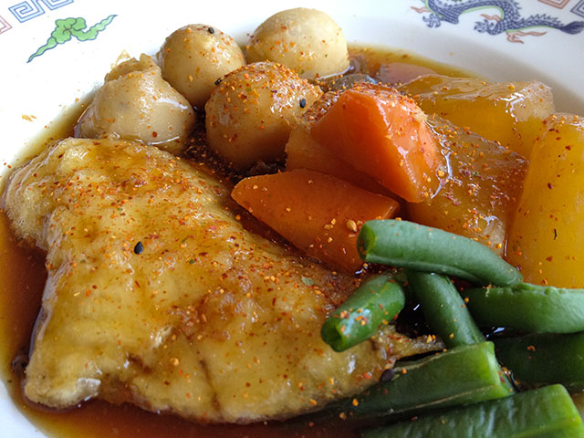 Codfish and Vegetables Cooked in Soy Sauce