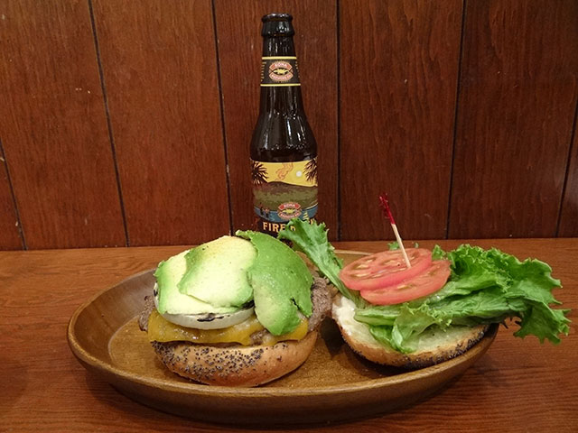 Avocado Cheese Burger with Fire Rock Pale Ale