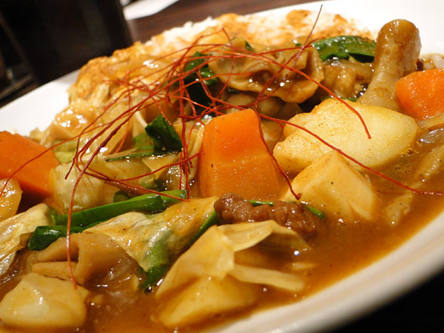 Half Order Beef Curry with Spicy Giblets and Vegetables