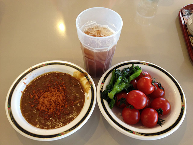 Curry and Salad with Iced Coffee