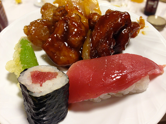 Sushi, Tempra, and Sweet-Sour Pork