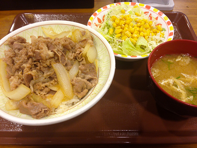 Beef Bowl with Salad and Miso Soup