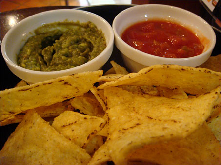 Tortilla Chips with Avocado Dip and Salsa Sauce