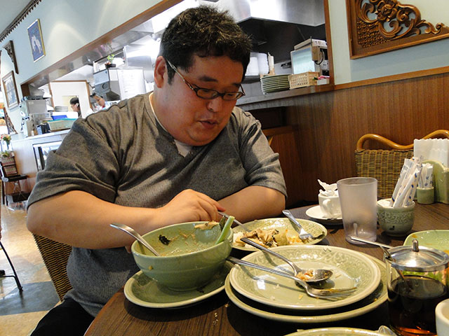 Mr. Tokumori Having Thai Foods
