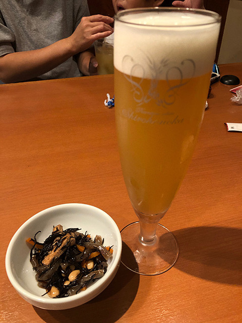 Draft Beer Shirohonoka and Appetizer